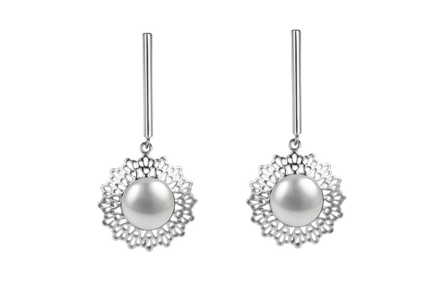 Louise Star Petite Earrings White Pearl