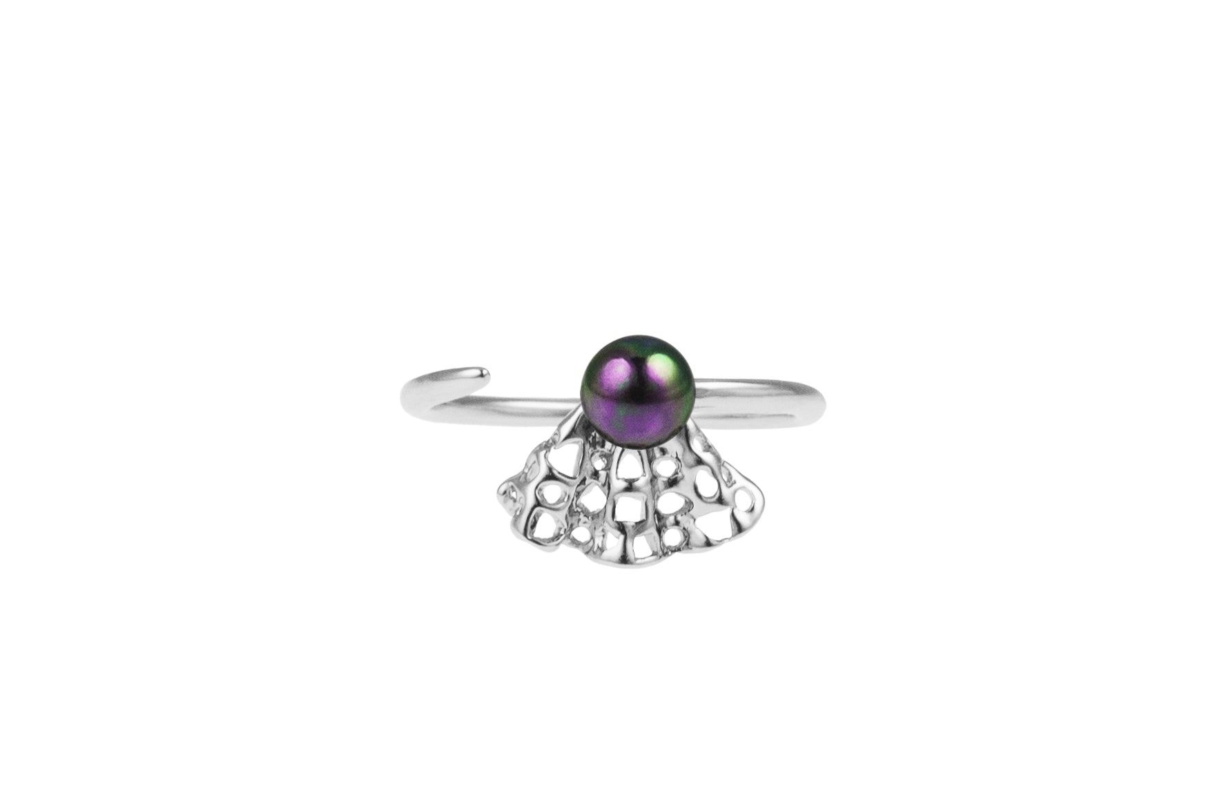Louise Ribbon Petite Ring Black Pearl - Charlotte Bonde