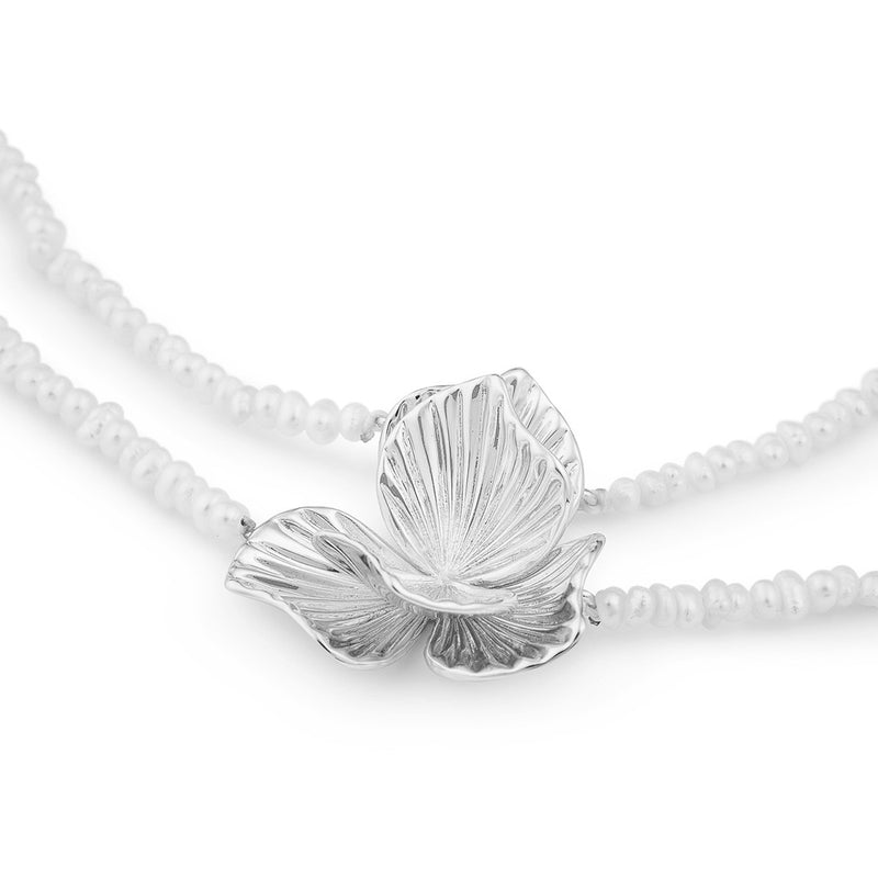 Ever After Poppy Pearl Necklace Silver Plated