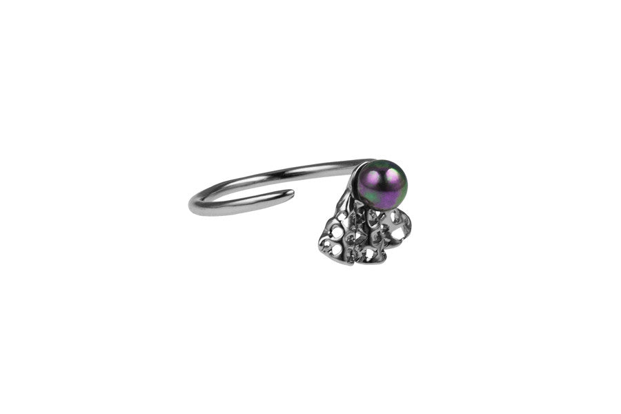 Louise Ribbon Petite Ring Black Pearl