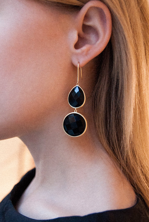 Sophie Amazon Earrings Obsidian - Charlotte Bonde