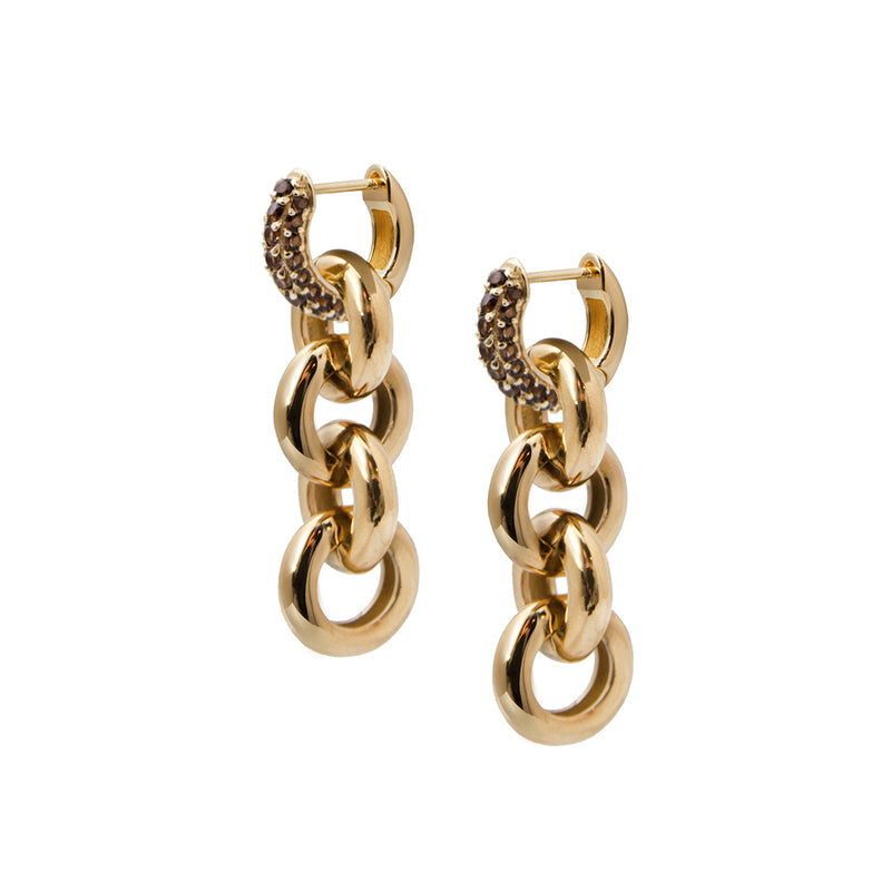 Timeless Chain Earrings Smoky Quartz - Charlotte Bonde