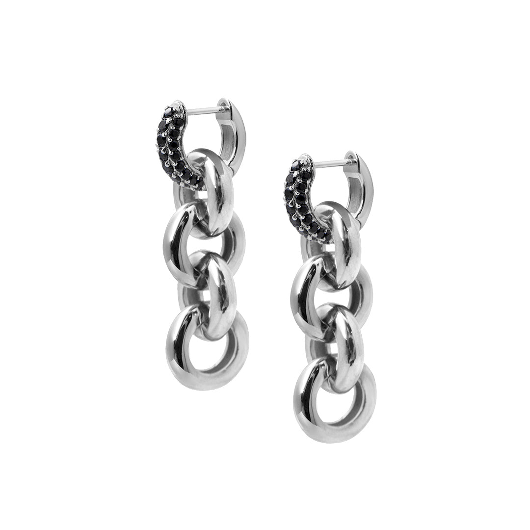 Timeless Chain Earrings Black Spinel - Charlotte Bonde