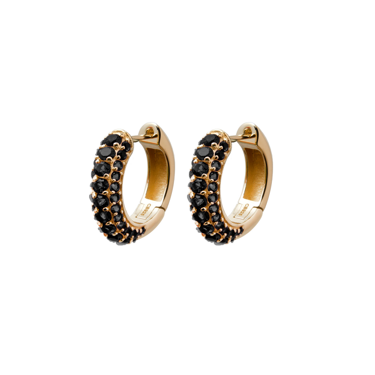 Timeless Chunky Hoops Black Spinel