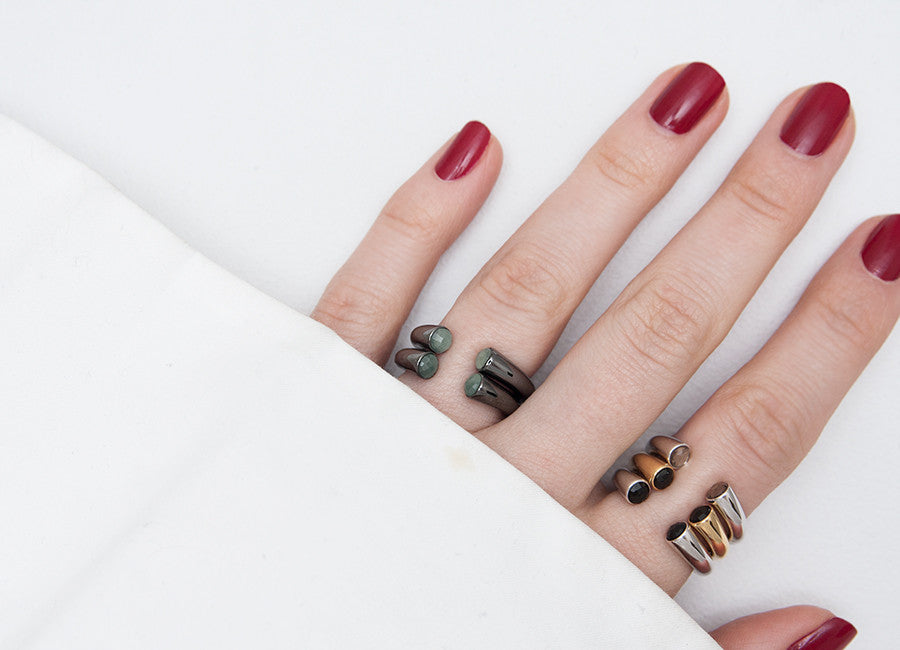 Caroline Ring with Obsidian Stones by Charlotte Bonde STHLM