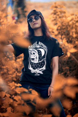 haul apparel pyasi aatma skull tee graphic print discount black tee nothing traditional