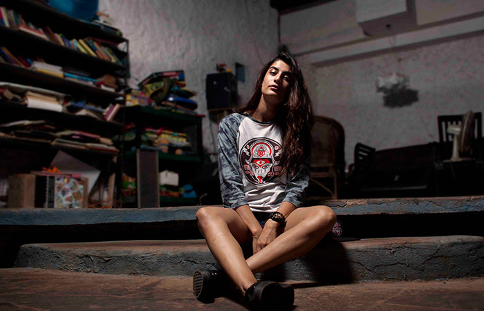 Erica Packard wearing the Kali Tshirt by Haul Apparel 7 Kayo Siddhi