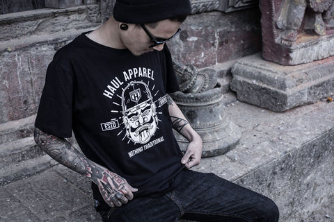 haul apparel rakshasa black tee discount clearance sale graphic printed tshirt