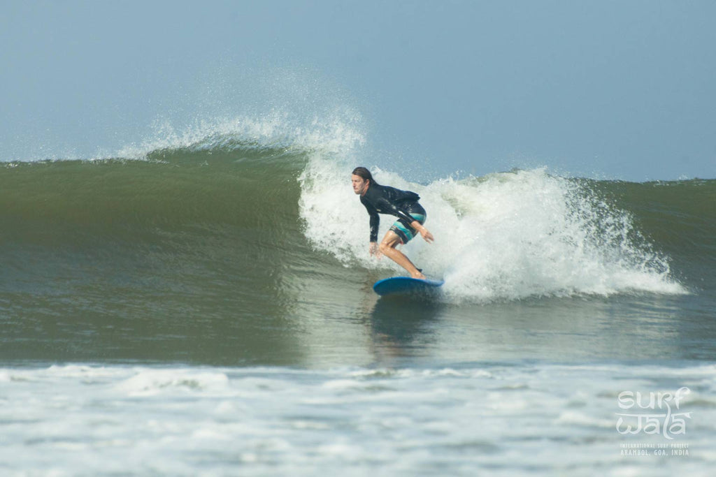 Anton Surfing in Goa when good waves in india