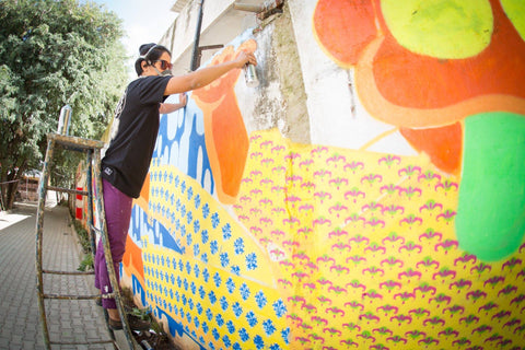 Deadline 0 graffiti during nnt graffiti festi in bangalore india at Haul Apparel Headquarters Play Arena