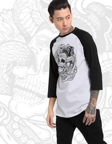 Vasuki Baseball Tee Haul Apparel Graphic Tee Black White