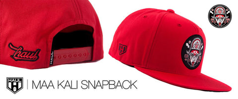 maa kali red snapback hat by Haul Apparel