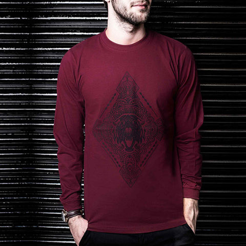 Diamonds Maroon Long Sleeve Tee