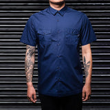 Navy Blue Double Pocket Office Shirt - Haul Apparel