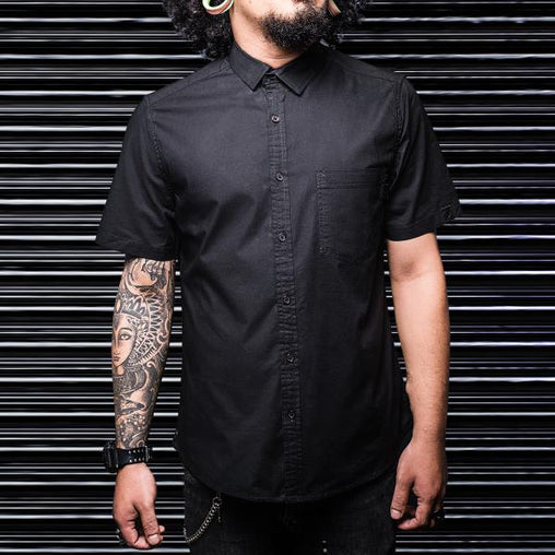 Black Single Pocket Half Sleeve Military Shirt - Haul Apparel