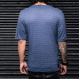 Navy Blue Striped Round Neck Tees - Haul Apparel