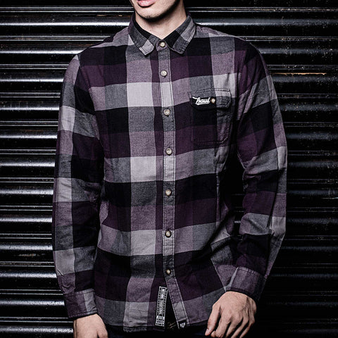 Deep Purple/Black Checkered Flannel Shirt