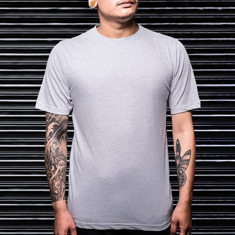 Solid Grey Plain Round Neck T-Shirt - Haul Apparel