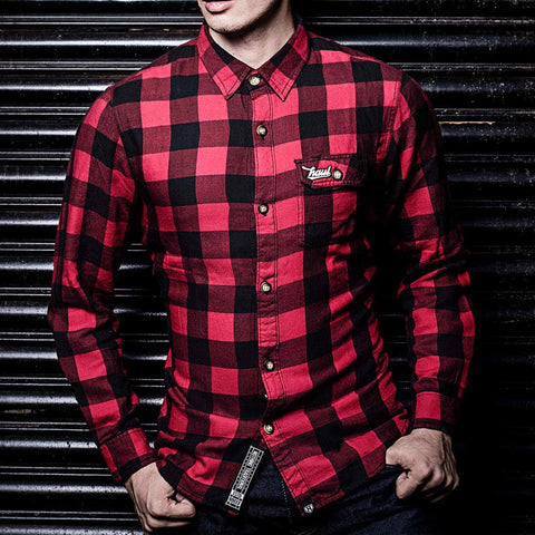 Red/Black Checkered Flannel Shirt by Haul Apparel India