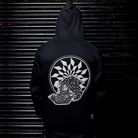 Geo Death Graphic Graphic Designer 100% Cotton Black Hoodie Back