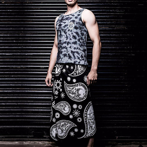 Black Skull Paisely Printed Lungi - Haul Apparel