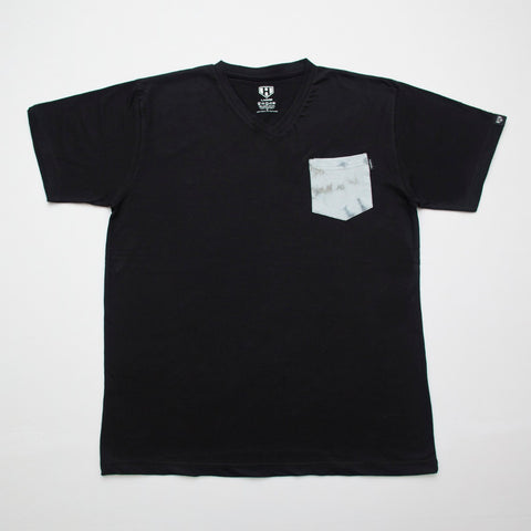 Grey Tie Dye Pocket Plain Black Tshirt in India Online  ( Haul Apparel )