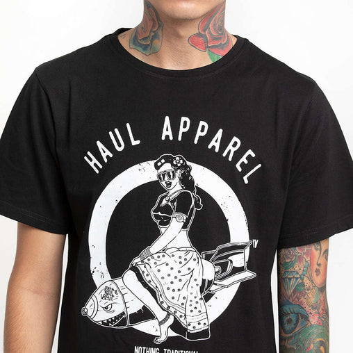 Desi Bomb Black Half Sleeve T-Shirt Haul Apparel - Close