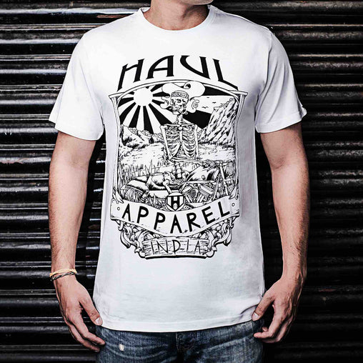 Easy Rider Graphic Designer Half Sleeve White Tee Front