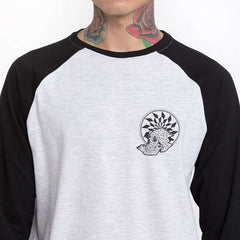 Geo Death Black Sleeve Baseball T-Shirt - Close