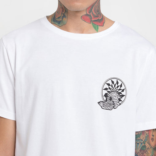 Geo Death White Half Sleeve T-Shirt Haul Apparel - Close