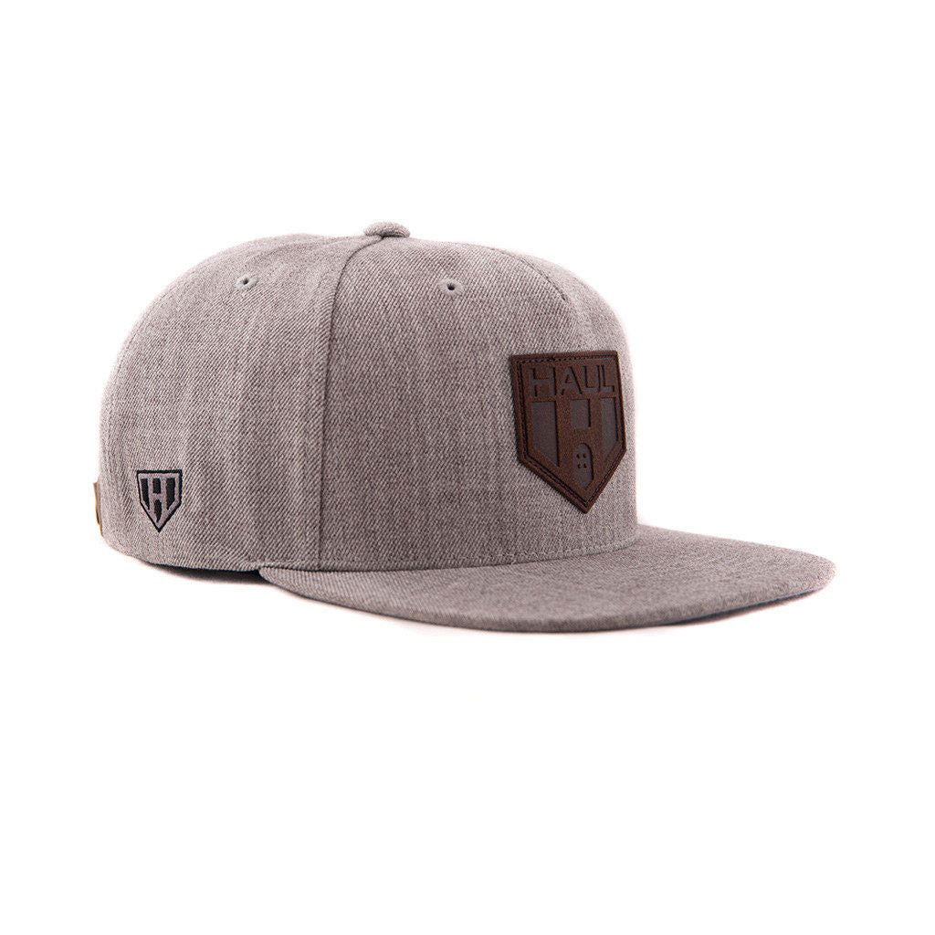 Grey Strapback Hat with Haul Logo Leather Patch   Full Leather Strapback  (Haul Apparel ) 6a1bbacc338