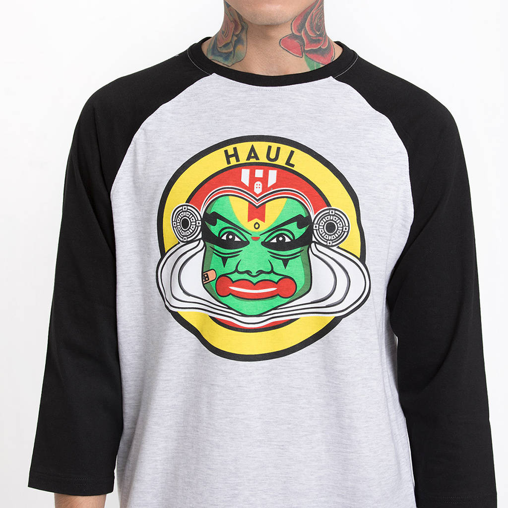 Kathakali Black Sleeve Baseball T-Shirt - Close