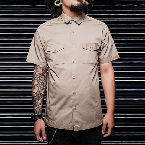 Khaki Slim Fit Double Pocket Office Shirt - Haul Apparel