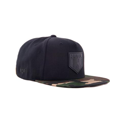 Haul Apparel Black Leather Embossed Label Snapback Cap-Side
