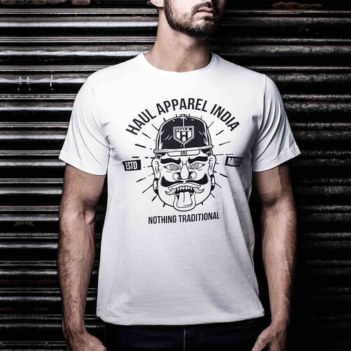 Rakshasa Graphic Designer Half Sleeves White Tee Front Shop Online for Cool Graphic Tees in India