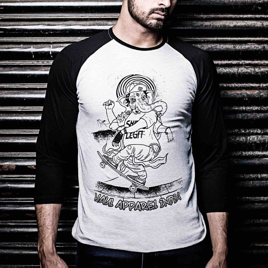 Ganesh Skating Graphic Designer Baseball Tee Black Sleeves Front