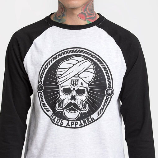 Skull Stache Black Sleeve Baseball T-Shirt Haul Apparel - Detail