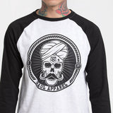 Skull Stache Black Sleeves Baseball T-Shirt
