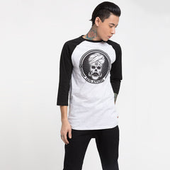 Skull Stache Black Sleeve Baseball T-Shirt Haul Apparel - Front
