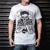 Up In Smoke Skull Graphic Designer Half Sleeves White Tee Front