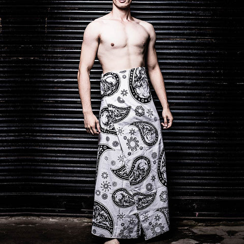 White Graphic Cotton Lungi - Haul Apparel