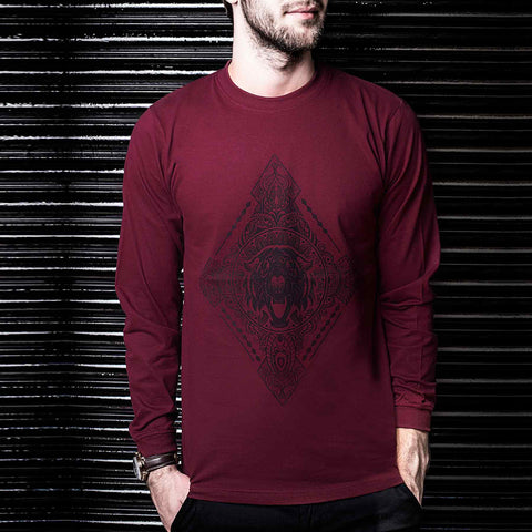 Full Sleeve Maroon Tshirt for Online Shopping in India by Haul Apparel