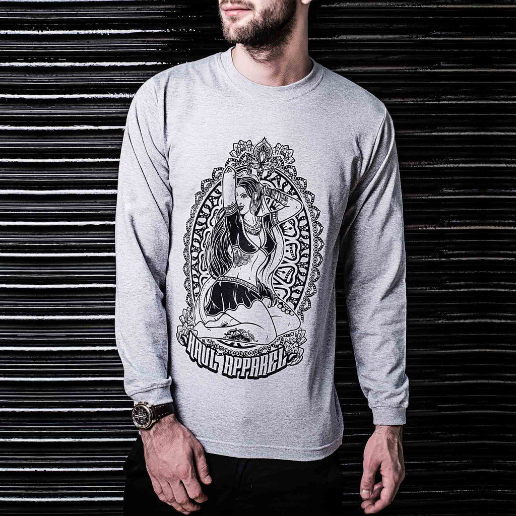 Grey Indian Pin Up Girl Tattoo Style Long Sleeve Tshirt ( Haul Apparel )