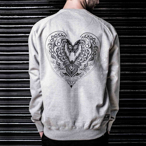 Shop Online for Hearts Full Sleeve Graphic Grey Sweater in India (Haul Apparel)