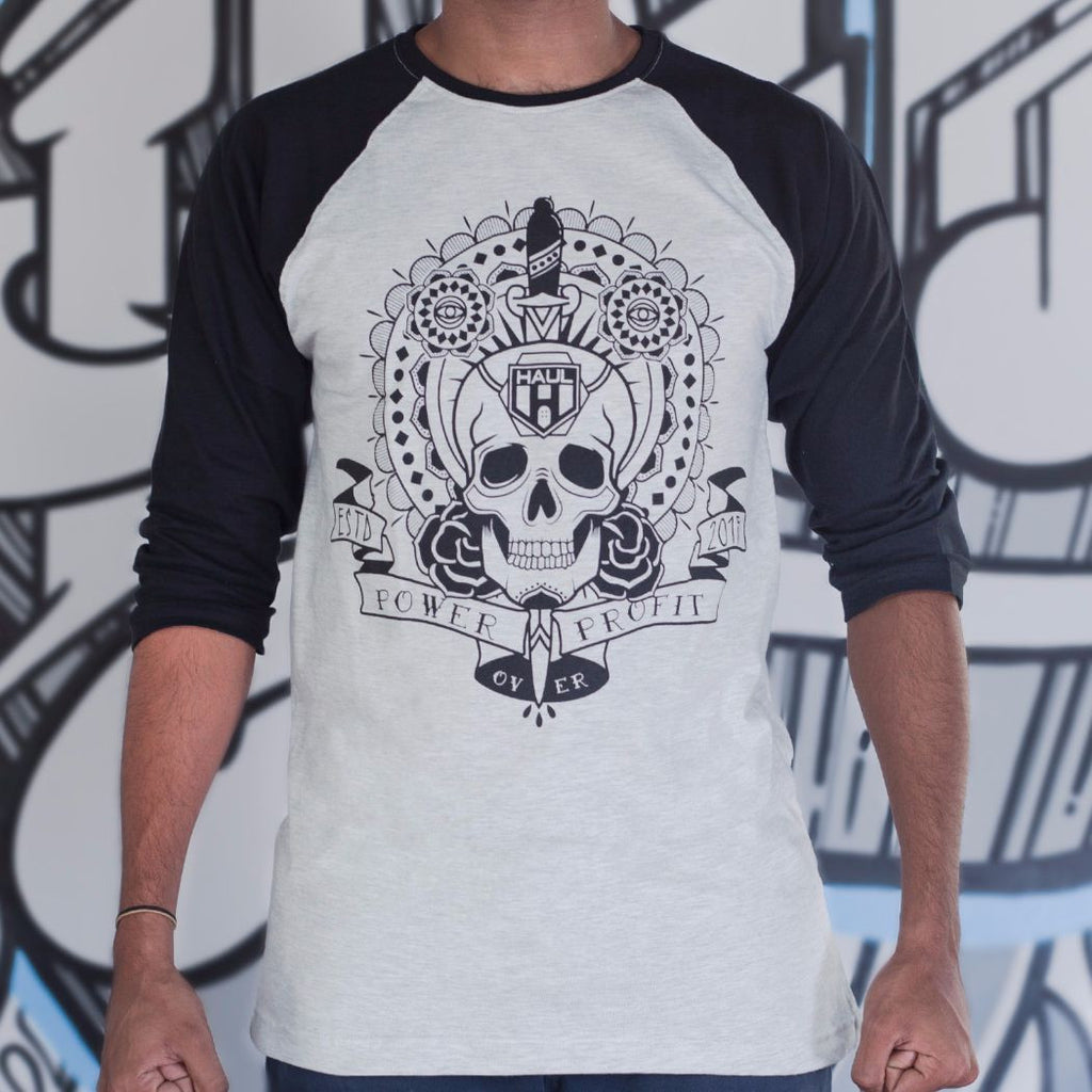 Skull Design Power Over Profit Graphic Baseball Tee Black Sleeves Front