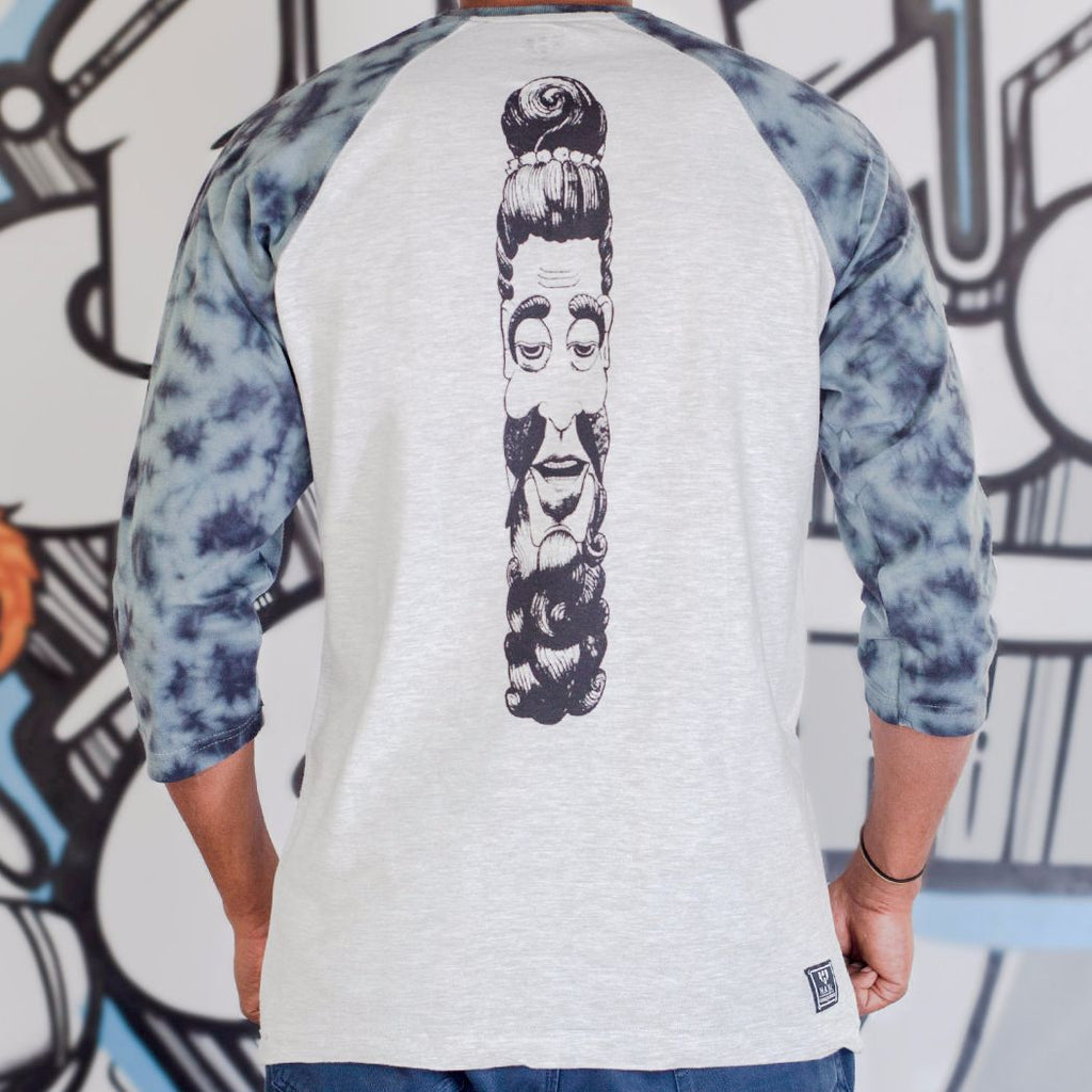 Sadhu Ji Graphic Designer Baseball Tee Tie-Dye Sleeves Back