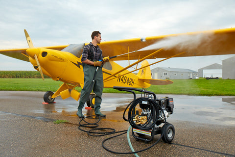 Pressure wash plane decontamination