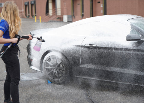 hot girl cleaning car mustang foam cannon