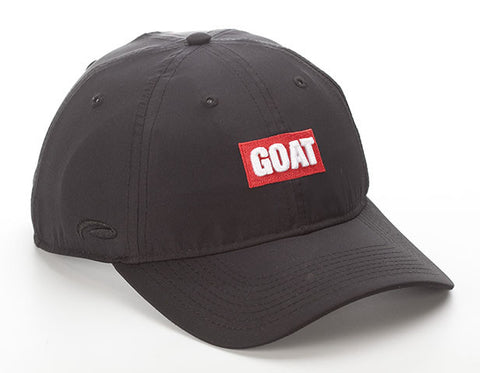 Black Lightweight Polyester SPF 50 Hat With Red GOAT Text