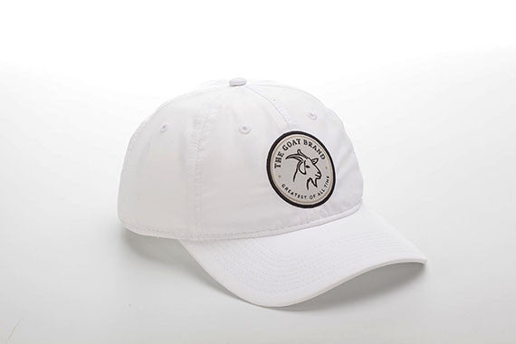 White Lightweight Polyester SPF 50 Hat with GOAT Emblem
